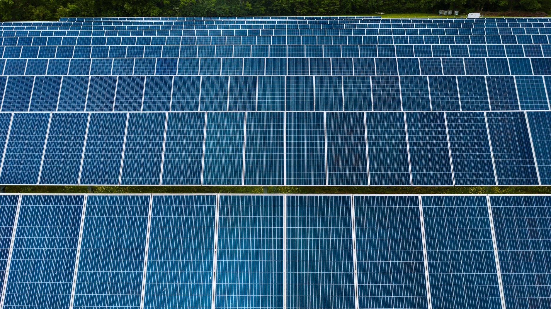 Photovoltaikanlage mit mehreren Solarmodulen in Reihen